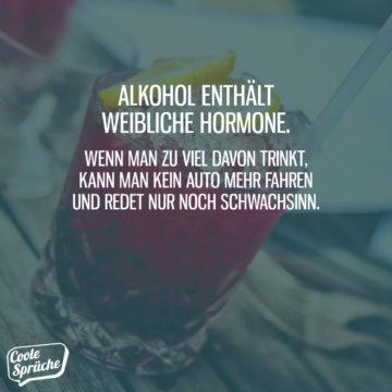 Alkohol enthält weibliche Hormone