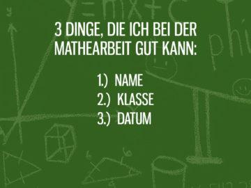 Drei Dinge bei der Mathearbeit